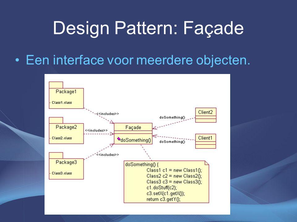 Design Pattern: Façade Een interface voor meerdere objecten.