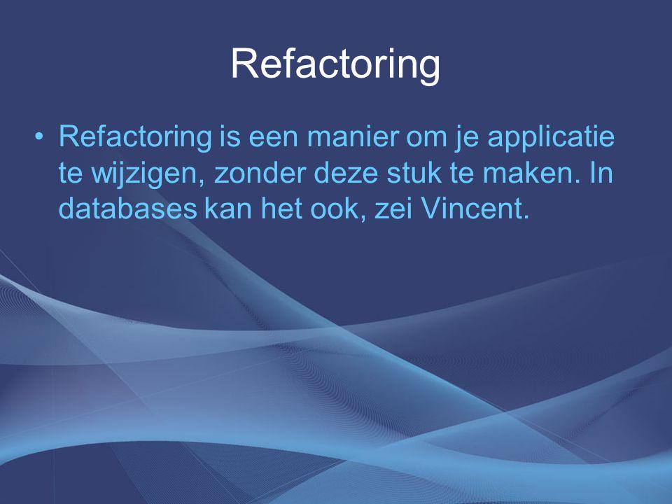 Refactoring Refactoring is een manier om je applicatie te wijzigen, zonder deze stuk te maken.