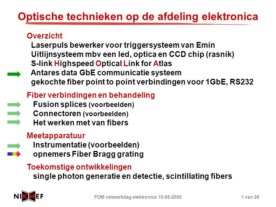 FOM netwerkdag elektronica 10-05-20051 van 26 Optische technieken op de afdeling elektronica Overzicht Laserpuls bewerker voor triggersysteem van Emin