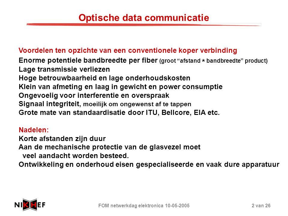 FOM netwerkdag elektronica 10-05-20052 van 26 Voordelen ten opzichte van een conventionele koper verbinding Enorme potentiele bandbreedte per fiber (g