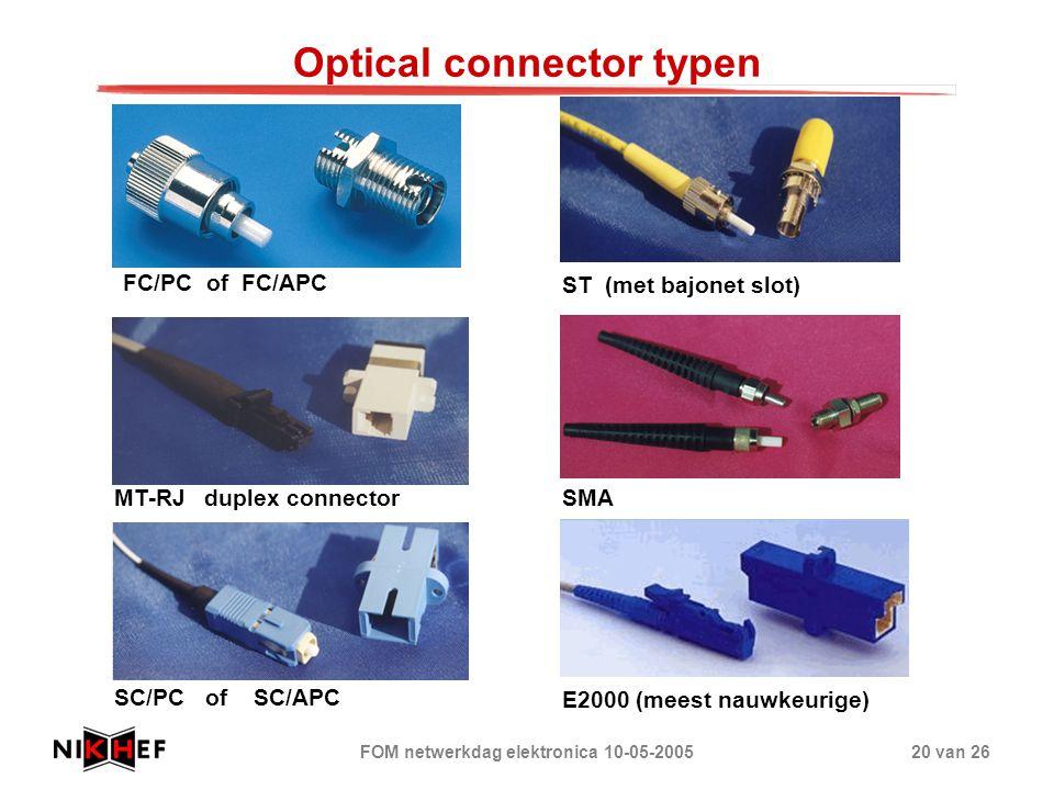 FOM netwerkdag elektronica 10-05-200520 van 26 Optical connector typen FC/PC of FC/APC ST (met bajonet slot) MT-RJ duplex connector SC/PC of SC/APC SM