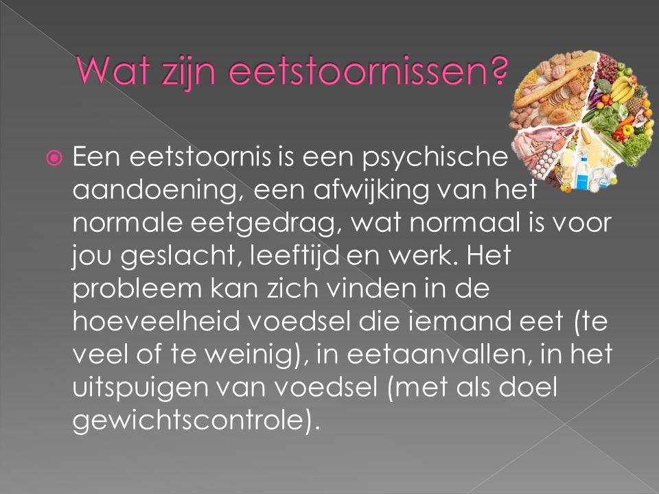  Een eetstoornis is een psychische aandoening, een afwijking van het normale eetgedrag, wat normaal is voor jou geslacht, leeftijd en werk. Het probl