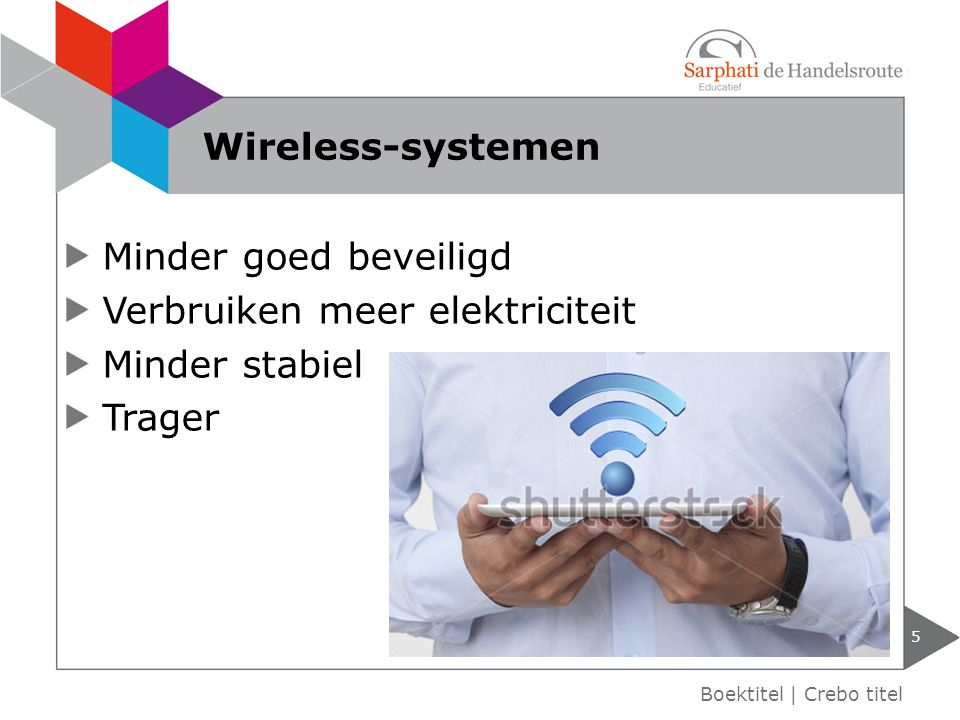 Minder goed beveiligd Verbruiken meer elektriciteit Minder stabiel Trager 5 Boektitel | Crebo titel Wireless-systemen