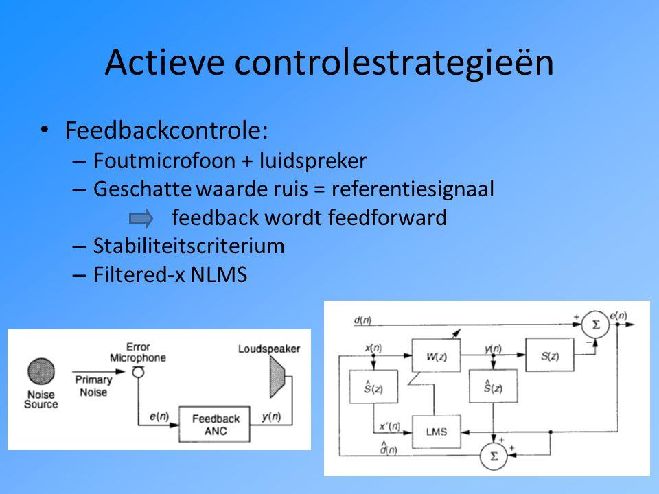 Actieve controlestrategieën Feedforwardcontrole: – Referentiemicrofoon + foutmicrofoon + luidspreker – Referentiesignaal: goede correlatie met ruissignaal – Secundair pad: faseverschuiving uitgangssignaal filtered-x NLMS (robuust voor fouten)