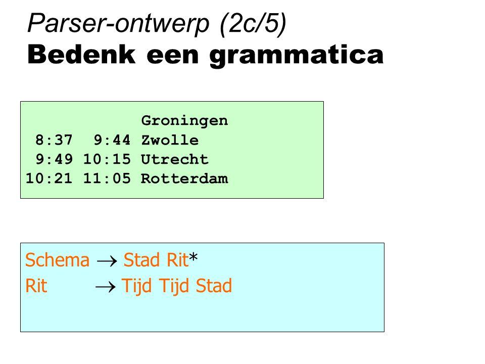 Parser-ontwerp (2c/5) Bedenk een grammatica Groningen 8:37 9:44 Zwolle 9:49 10:15 Utrecht 10:21 11:05 Rotterdam Schema  Stad Rit* Rit  Tijd Tijd Stad