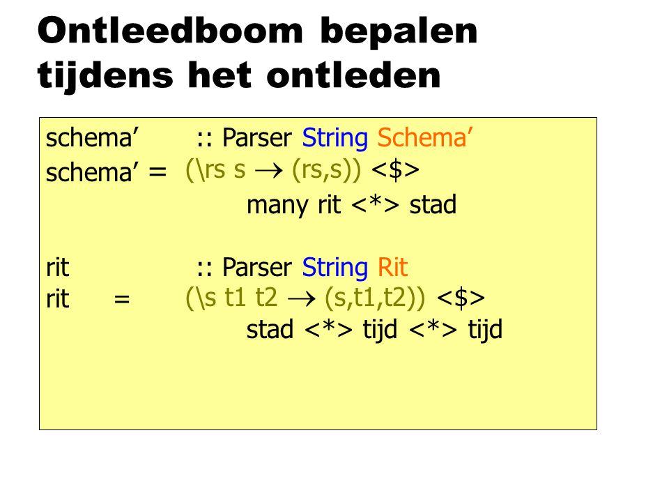 Ontleedboom bepalen tijdens het ontleden schema' :: Parser String Schema' schema' = many rit stad rit :: Parser String Rit rit = stad tijd tijd (\rs s  (rs,s)) (\s t1 t2  (s,t1,t2))