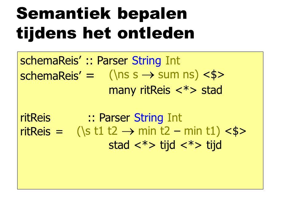 Semantiek bepalen tijdens het ontleden schemaReis' :: Parser String Int schemaReis' = many ritReis stad ritReis :: Parser String Int ritReis = stad tijd tijd (\ns s  sum ns) (\s t1 t2  min t2 – min t1)