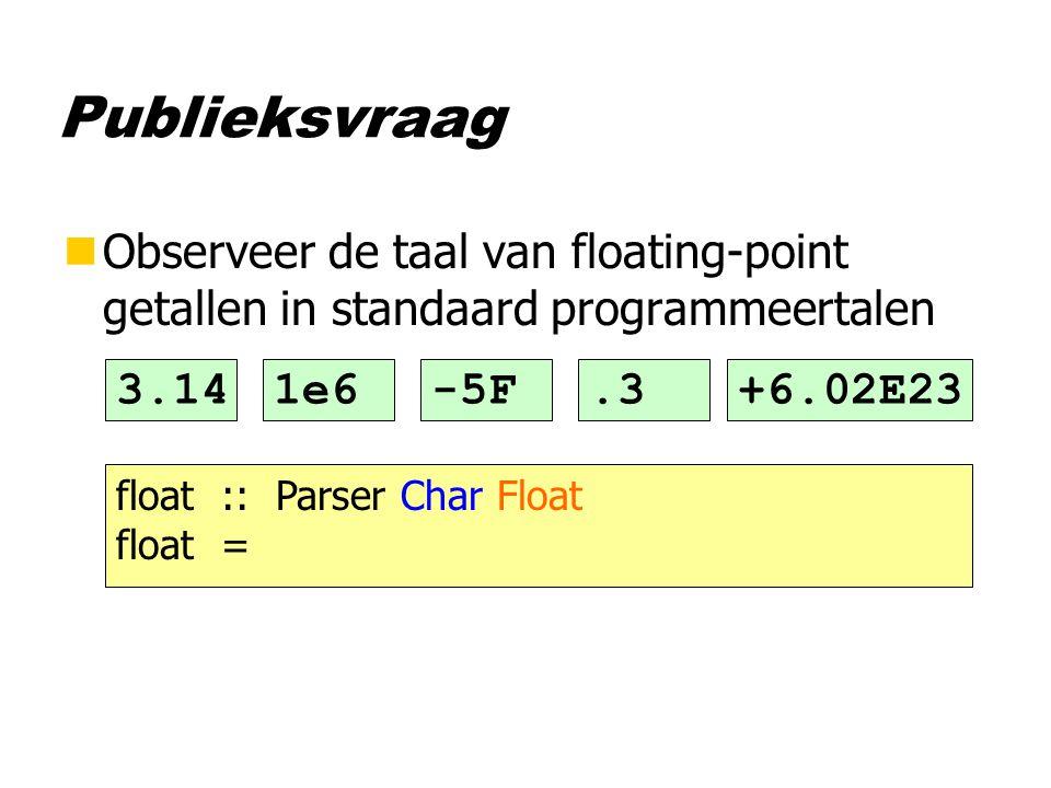 Publieksvraag nObserveer de taal van floating-point getallen in standaard programmeertalen 3.141e6-5F.3+6.02E23 float :: Parser Char Float float =