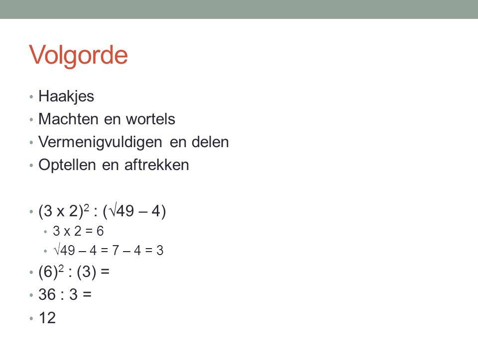 Volgorde Haakjes Machten en wortels Vermenigvuldigen en delen Optellen en aftrekken (3 x 2) 2 : (√49 – 4) 3 x 2 = 6 √49 – 4 = 7 – 4 = 3 (6) 2 : (3) =