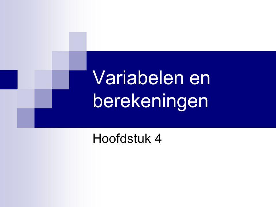 Hoofdstuk 4 Visual Basic.NET voor studenten12 Nieuwe Components Klasse: TextBox  Invoer van de gebruiker  Property: Text Klasse: Label  Tekstuele informatie  Niet wijzigbaar door gebruiker  Wel programmatorisch wijzigbaar  Property: Text Klasse InputBox Demo: Euro's en Centen