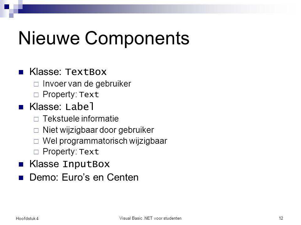 Hoofdstuk 4 Visual Basic.NET voor studenten12 Nieuwe Components Klasse: TextBox  Invoer van de gebruiker  Property: Text Klasse: Label  Tekstuele i