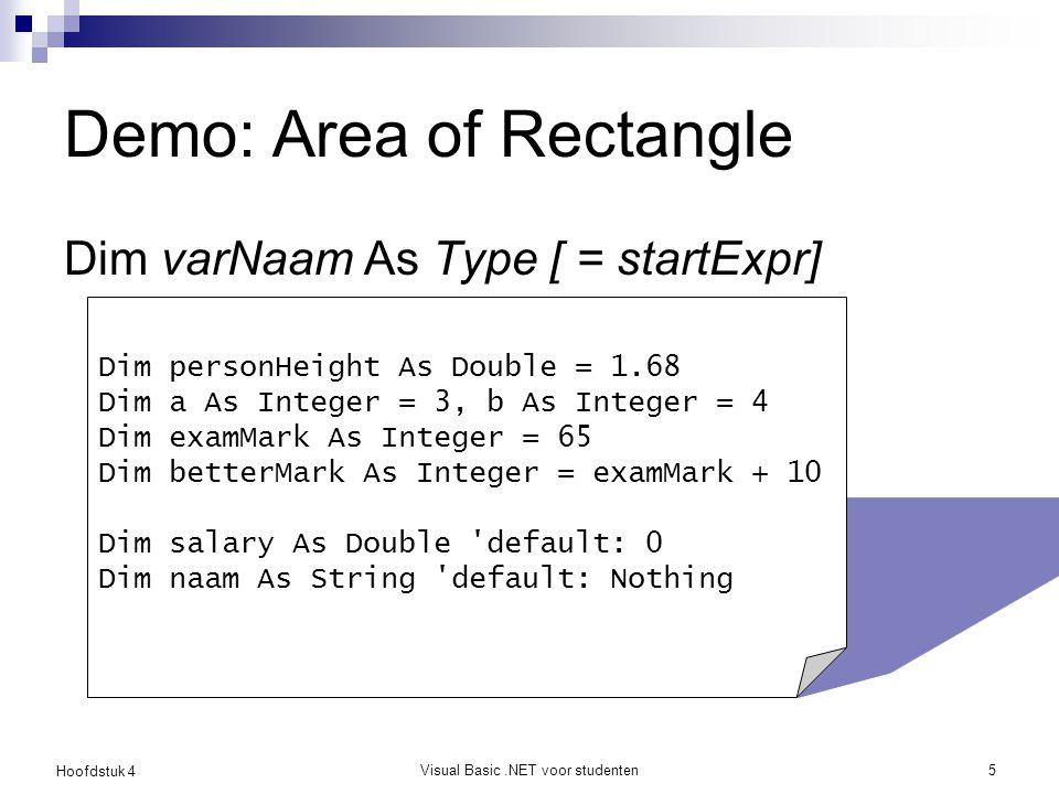 Hoofdstuk 4 Visual Basic.NET voor studenten6 Toekenningsopdracht De variabele lengte krijgt de waarde 20 lengte wordt 20 Leesrichting: ← Niet: lengte is gelijk aan 20.