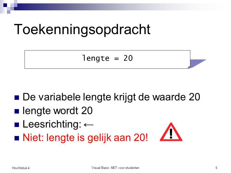 Hoofdstuk 4 Visual Basic.NET voor studenten7 Berekeningen en operatoren De nieuwe waarde van lengte wordt de oude waarde plus één Links: variabele naam, rechts: expressie lengte = lengte + 1
