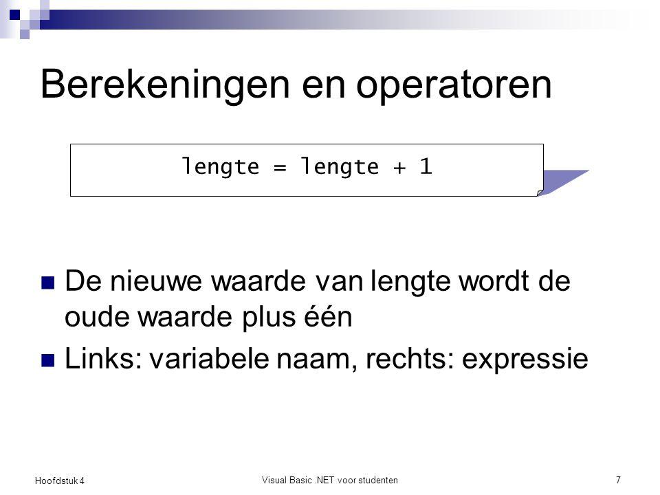 Hoofdstuk 4 Visual Basic.NET voor studenten8 Operatoren Zie tabel in het handboek Gebruik van haakjes is aanbevolen Opsplitsen van expressies is aanbevolen (lange regels vermijden) Zie testvragen Wat is het verschil tussen / en \ .