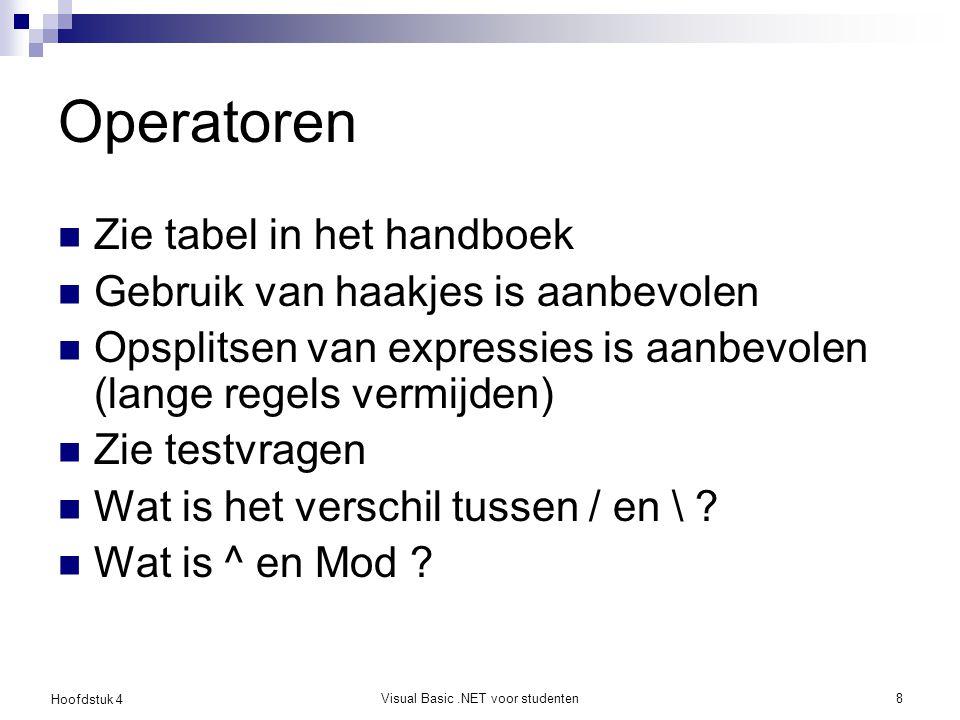 Hoofdstuk 4 Visual Basic.NET voor studenten8 Operatoren Zie tabel in het handboek Gebruik van haakjes is aanbevolen Opsplitsen van expressies is aanbe