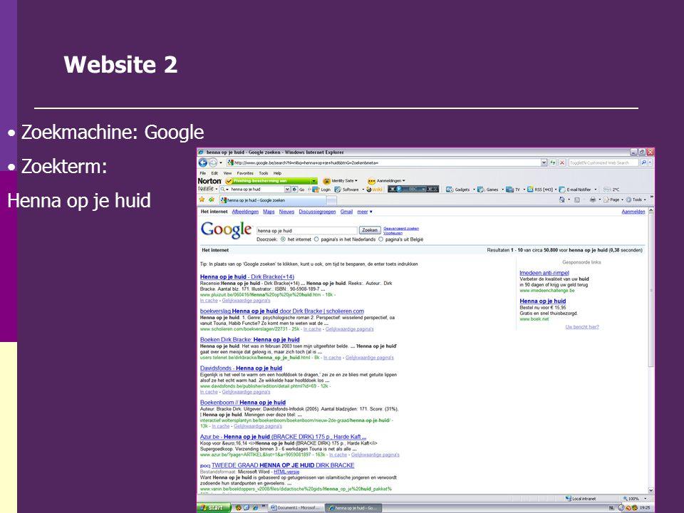 Website 2 Zoekmachine: Google Zoekterm: Henna op je huid