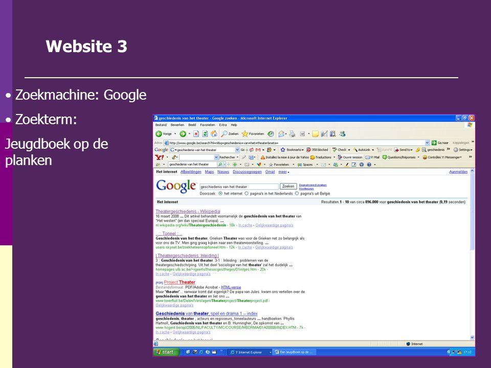 Website 3 Zoekmachine: Google Zoekterm: Jeugdboek op de planken