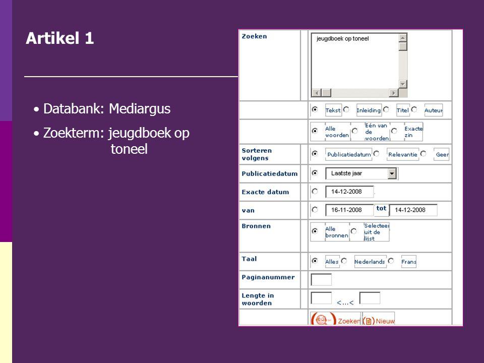Artikel 1 Databank: Mediargus Zoekterm: jeugdboek op toneel