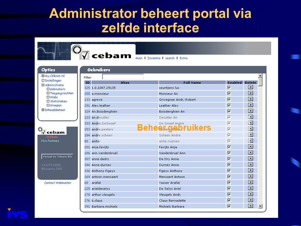 Administrator beheert portal via zelfde interface Beheer gebruikers
