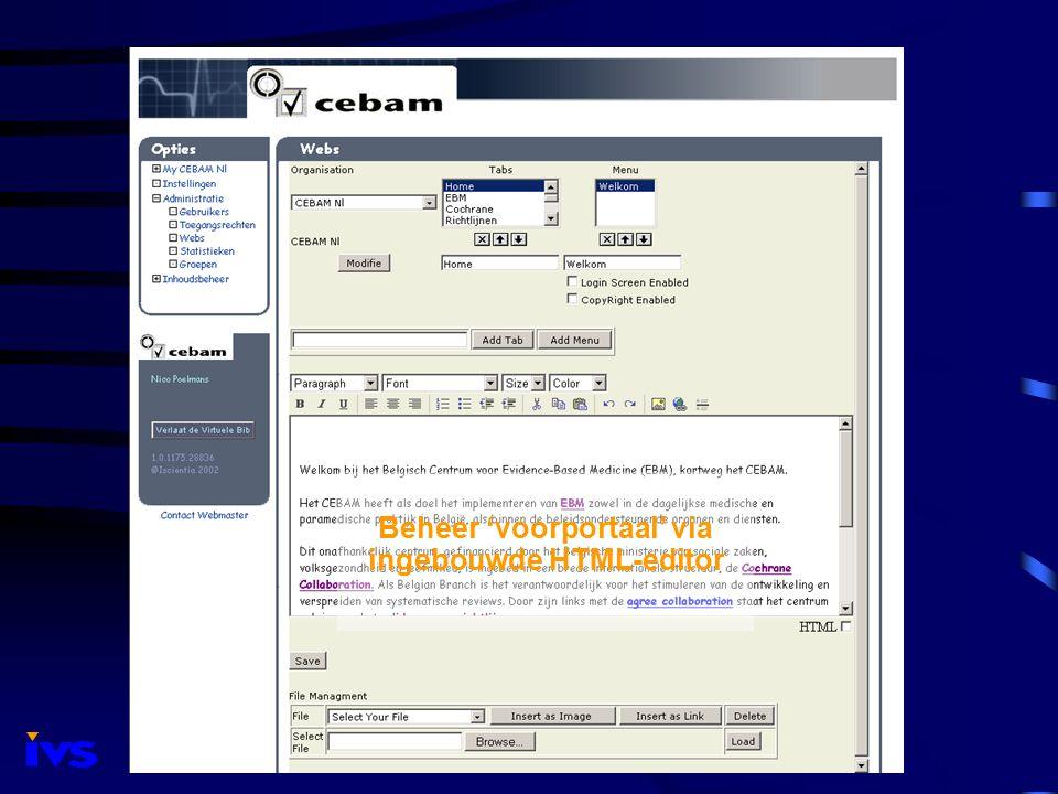 Beheer 'voorportaal' via ingebouwde HTML-editor