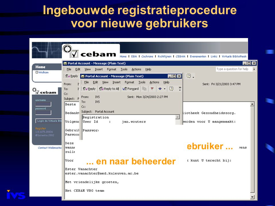 Ingebouwde registratieprocedure voor nieuwe gebruikers Bevestiging naar gebruiker......