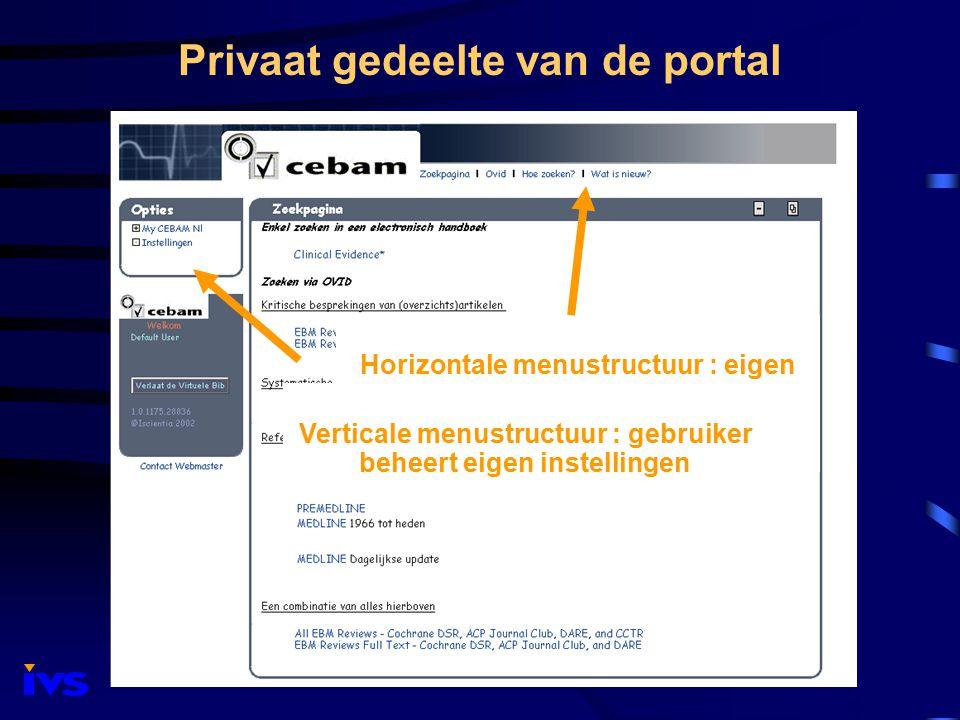 Privaat gedeelte van de portal Horizontale menustructuur : eigen selectie uit voorgedefinieerde informatiekanalen Verticale menustructuur : gebruiker beheert eigen instellingen