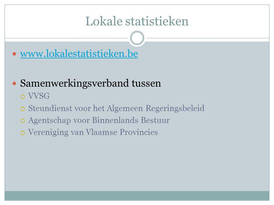 Lokale statistieken www.lokalestatistieken.be Samenwerkingsverband tussen  VVSG  Steundienst voor het Algemeen Regeringsbeleid  Agentschap voor Binnenlands Bestuur  Vereniging van Vlaamse Provincies