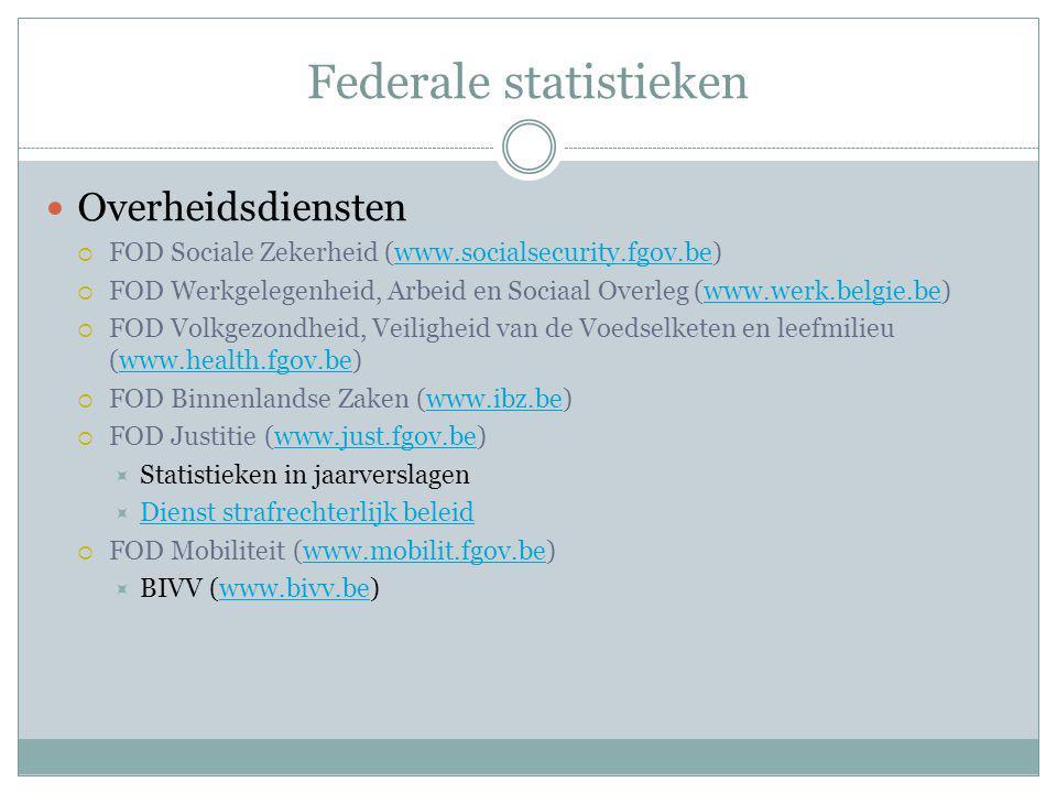 Federale statistieken Overheidsdiensten  FOD Sociale Zekerheid (www.socialsecurity.fgov.be)www.socialsecurity.fgov.be  FOD Werkgelegenheid, Arbeid en Sociaal Overleg (www.werk.belgie.be)www.werk.belgie.be  FOD Volkgezondheid, Veiligheid van de Voedselketen en leefmilieu (www.health.fgov.be)www.health.fgov.be  FOD Binnenlandse Zaken (www.ibz.be)www.ibz.be  FOD Justitie (www.just.fgov.be)www.just.fgov.be  Statistieken in jaarverslagen  Dienst strafrechterlijk beleid Dienst strafrechterlijk beleid  FOD Mobiliteit (www.mobilit.fgov.be)www.mobilit.fgov.be  BIVV (www.bivv.be)www.bivv.be