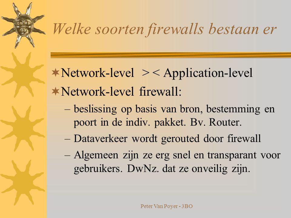 Peter Van Poyer - 3BO opzet en het gebruik  Wijze waarop : –Expliciet verbieden van alle vormen van verkeer uitgezonderd die nodig zijn –Of gemonitorde toegang bieden op een niet- bedreigende manier  Welk niveau van monitoren en controle is gewenst .