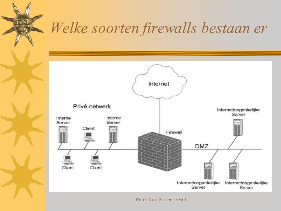 Peter Van Poyer - 3BO Welke soorten firewalls bestaan er  Application-level firewall : –algemeen hosts die proxy servers draaien. –Proxy server laat