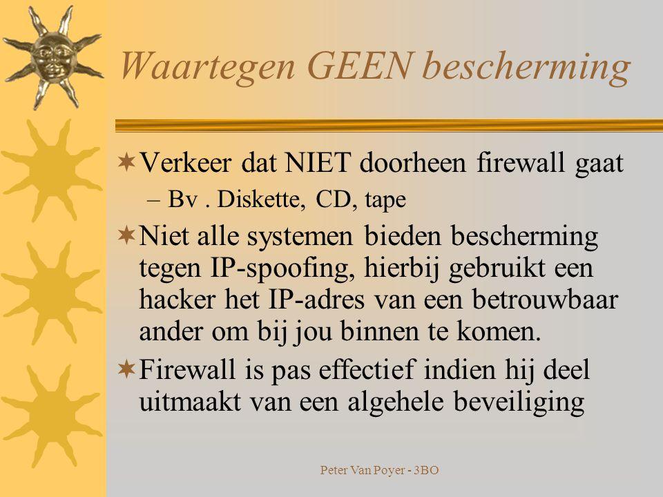 Peter Van Poyer - 3BO Enkele nuttige Firewall adressen  ZoneAlarm (gratis) www.zonealarm.com  Norton Internet Security www.symantec.com  Sygate Personal Firewall (gratis) www.sygate.com  Tiny Personal Firewall (gratis) www.tinysoftware.com  Blackice Defender www.iss.net  Conseal Firewall www.consealfirewall.com  Outpost Firewall (gratis) www.agnitum.com/products/outpost  Checkpoint www.checkpoint.com  Nokia www.nokia.com  Netscreen www.netscreen.com  Watchguard www.watchguard.com