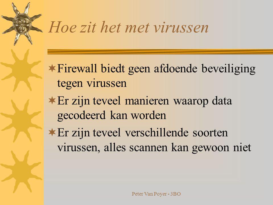 Peter Van Poyer - 3BO Hoe zit het met virussen  Firewall biedt geen afdoende beveiliging tegen virussen  Er zijn teveel manieren waarop data gecodeerd kan worden  Er zijn teveel verschillende soorten virussen, alles scannen kan gewoon niet