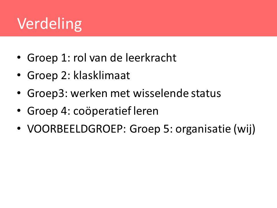 Verdeling Groep 1: rol van de leerkracht Groep 2: klasklimaat Groep3: werken met wisselende status Groep 4: coöperatief leren VOORBEELDGROEP: Groep 5: