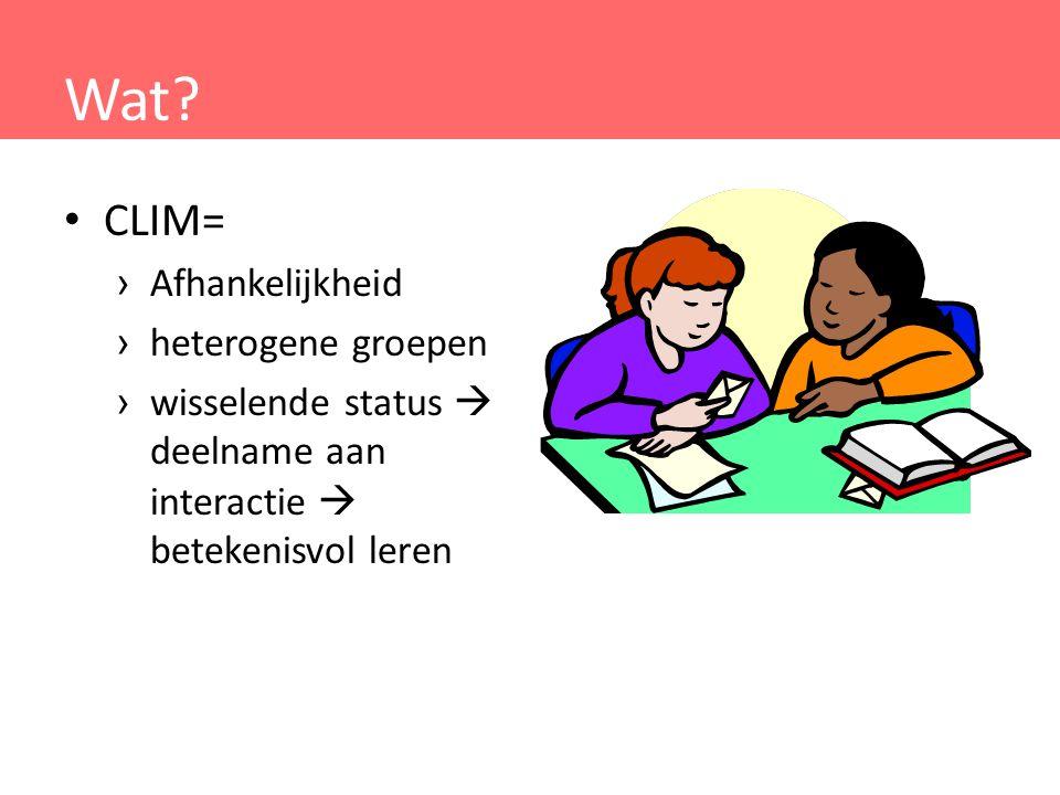 Wat? CLIM= › Afhankelijkheid › heterogene groepen › wisselende status  deelname aan interactie  betekenisvol leren