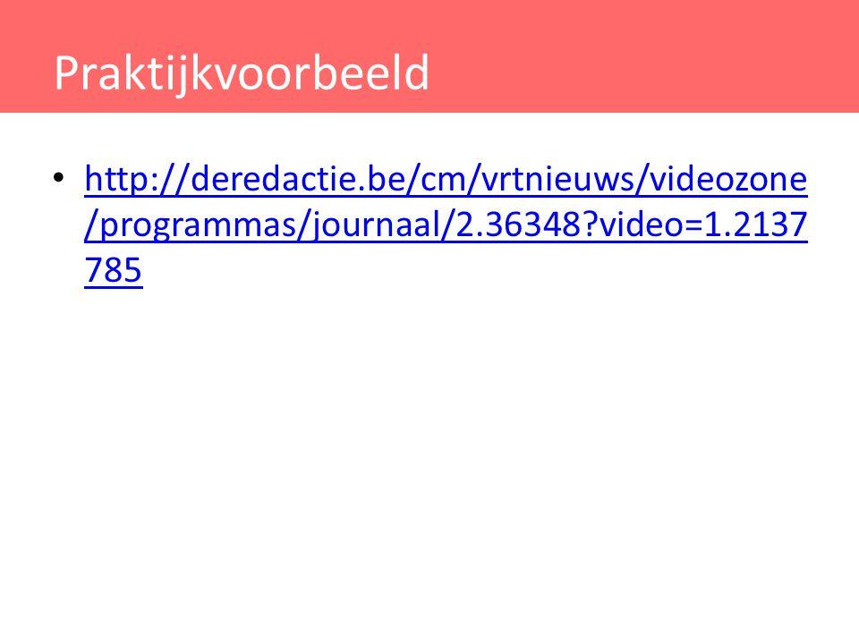 Praktijkvoorbeeld http://deredactie.be/cm/vrtnieuws/videozone /programmas/journaal/2.36348?video=1.2137 785 http://deredactie.be/cm/vrtnieuws/videozon