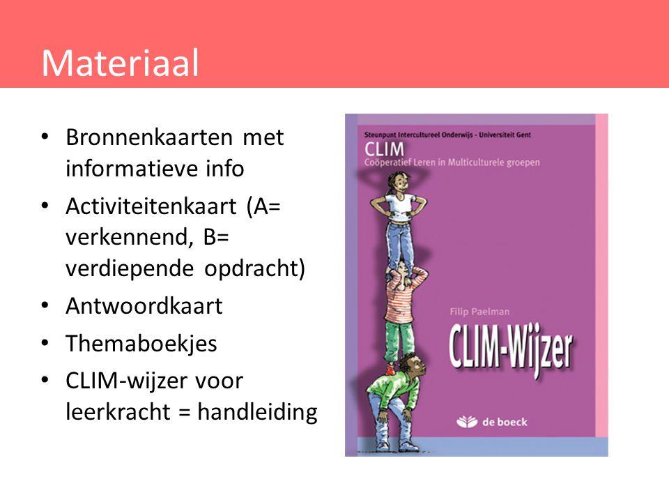 Materiaal Bronnenkaarten met informatieve info Activiteitenkaart (A= verkennend, B= verdiepende opdracht) Antwoordkaart Themaboekjes CLIM-wijzer voor