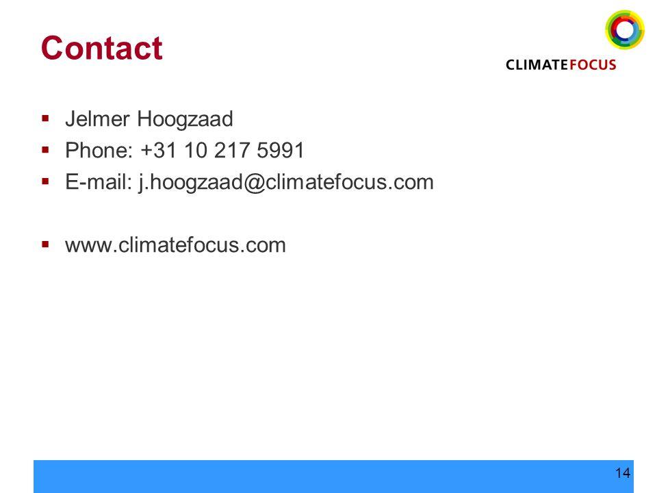 14 Contact  Jelmer Hoogzaad  Phone: +31 10 217 5991  E-mail: j.hoogzaad@climatefocus.com  www.climatefocus.com