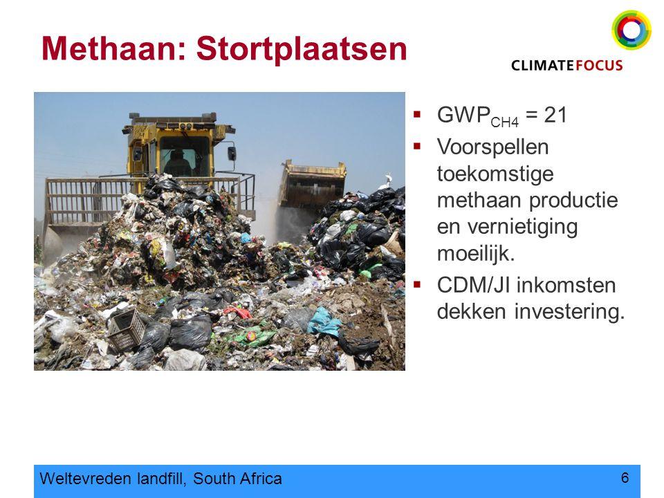 6 Methaan: Stortplaatsen Weltevreden landfill, South Africa  GWP CH4 = 21  Voorspellen toekomstige methaan productie en vernietiging moeilijk.  CDM