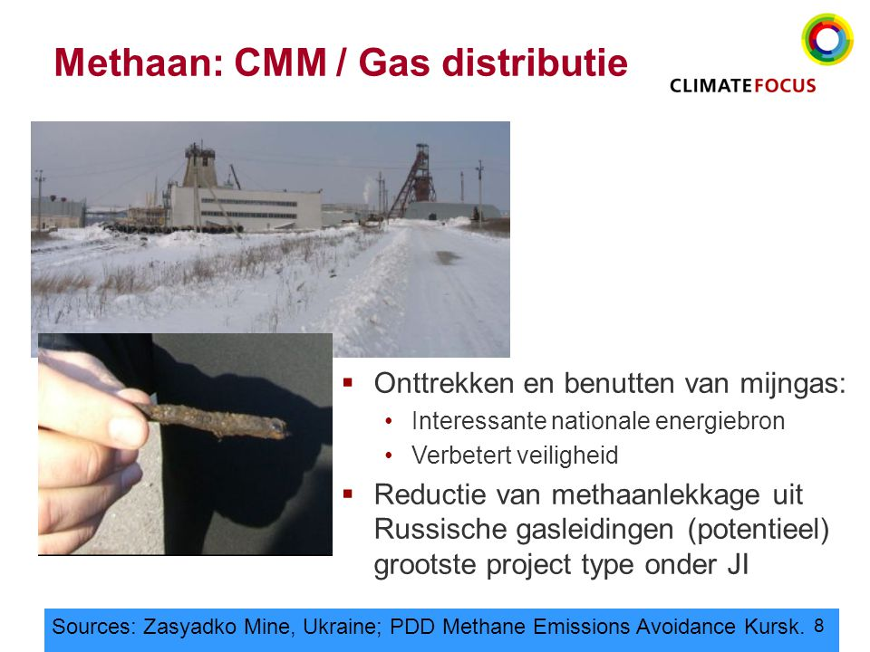 8 Methaan: CMM / Gas distributie Sources: Zasyadko Mine, Ukraine; PDD Methane Emissions Avoidance Kursk.