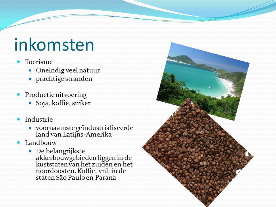 inkomsten Toerisme Oneindig veel natuur prachtige stranden Productie uitvoering Soja, koffie, suiker Industrie voornaamste geïndustrialiseerde land van Latijns-Amerika Landbouw De belangrijkste akkerbouwgebieden liggen in de kuststaten van het zuiden en het noordoosten.