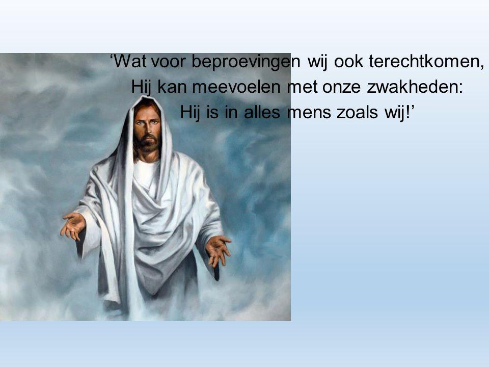 'Wat voor beproevingen wij ook terechtkomen, Hij kan meevoelen met onze zwakheden: Hij is in alles mens zoals wij!'