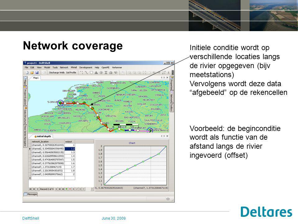 June 30, 2009DelftShell Network coverage Initiele conditie wordt op verschillende locaties langs de rivier opgegeven (bijv meetstations) Vervolgens wordt deze data afgebeeld op de rekencellen Voorbeeld: de beginconditie wordt als functie van de afstand langs de rivier ingevoerd (offset)