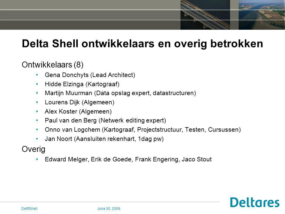 June 30, 2009DelftShell Delta Shell ontwikkelaars en overig betrokken Ontwikkelaars (8) Gena Donchyts (Lead Architect) Hidde Elzinga (Kartograaf) Martijn Muurman (Data opslag expert, datastructuren) Lourens Dijk (Algemeen) Alex Koster (Algemeen) Paul van den Berg (Netwerk editing expert) Onno van Logchem (Kartograaf, Projectstructuur, Testen, Cursussen) Jan Noort (Aansluiten rekenhart, 1dag pw) Overig Edward Melger, Erik de Goede, Frank Engering, Jaco Stout