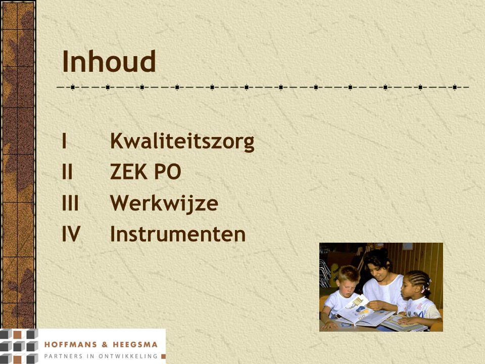 Inhoud IKwaliteitszorg IIZEK PO IIIWerkwijze IVInstrumenten
