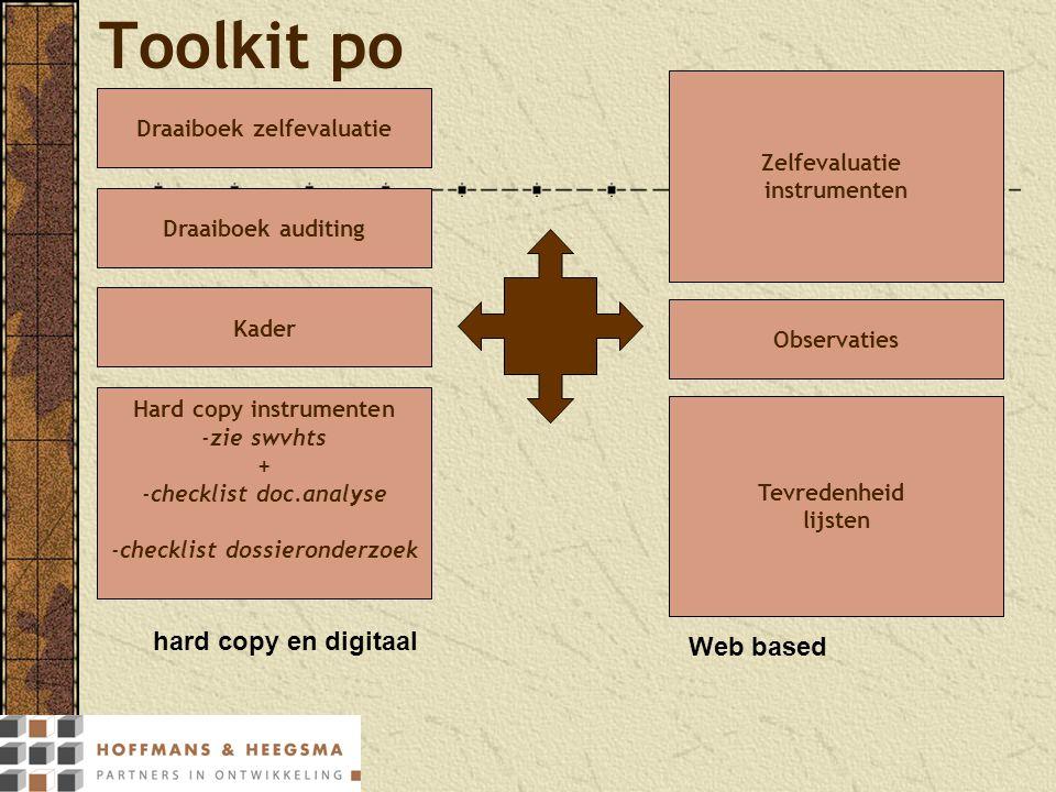 hard copy en digitaal Toolkit po Zelfevaluatie instrumenten Kader Draaiboek auditing Draaiboek zelfevaluatie Web based Hard copy instrumenten -zie swv
