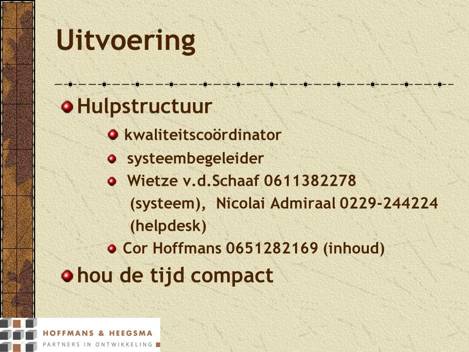 Uitvoering Hulpstructuur kwaliteitscoördinator systeembegeleider Wietze v.d.Schaaf 0611382278 (systeem), Nicolai Admiraal 0229-244224 (helpdesk) Cor H