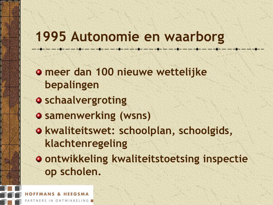 1995 Autonomie en waarborg meer dan 100 nieuwe wettelijke bepalingen schaalvergroting samenwerking (wsns) kwaliteitswet: schoolplan, schoolgids, klach