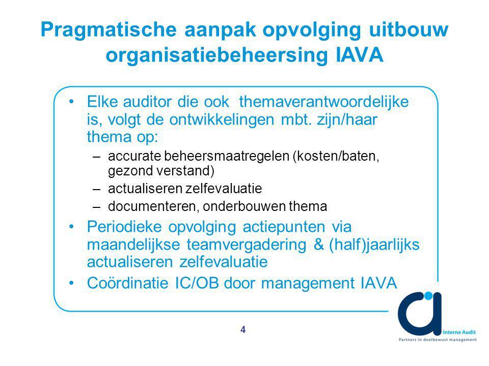 4 Pragmatische aanpak opvolging uitbouw organisatiebeheersing IAVA Elke auditor die ook themaverantwoordelijke is, volgt de ontwikkelingen mbt.