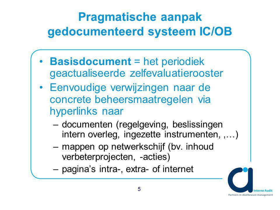 5 Pragmatische aanpak gedocumenteerd systeem IC/OB Basisdocument = het periodiek geactualiseerde zelfevaluatierooster Eenvoudige verwijzingen naar de concrete beheersmaatregelen via hyperlinks naar –documenten (regelgeving, beslissingen intern overleg, ingezette instrumenten,,…) –mappen op netwerkschijf (bv.