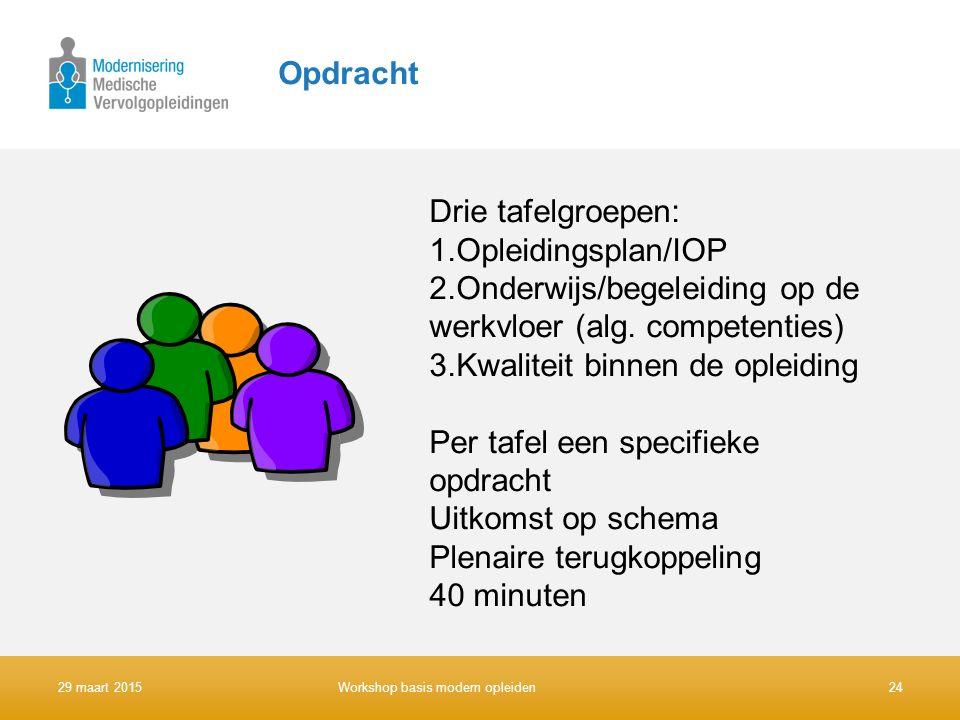 Opdracht Drie tafelgroepen: 1.Opleidingsplan/IOP 2.Onderwijs/begeleiding op de werkvloer (alg. competenties) 3.Kwaliteit binnen de opleiding Per tafel